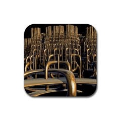 Fractal Image Of Copper Pipes Rubber Square Coaster (4 pack)