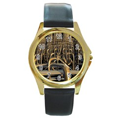 Fractal Image Of Copper Pipes Round Gold Metal Watch