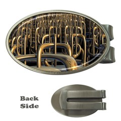 Fractal Image Of Copper Pipes Money Clips (Oval)