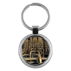 Fractal Image Of Copper Pipes Key Chains (Round)