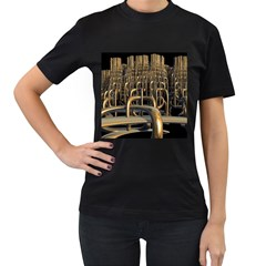 Fractal Image Of Copper Pipes Women s T Shirt (black) (two Sided)