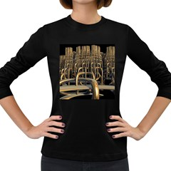 Fractal Image Of Copper Pipes Women s Long Sleeve Dark T Shirts