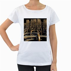 Fractal Image Of Copper Pipes Women s Loose-Fit T-Shirt (White)