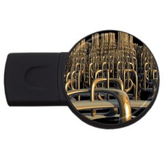 Fractal Image Of Copper Pipes USB Flash Drive Round (4 GB)