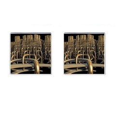 Fractal Image Of Copper Pipes Cufflinks (square)