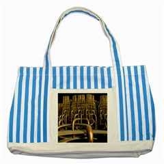 Fractal Image Of Copper Pipes Striped Blue Tote Bag