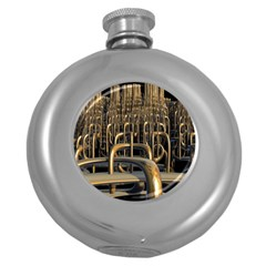 Fractal Image Of Copper Pipes Round Hip Flask (5 Oz)