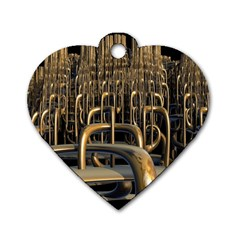 Fractal Image Of Copper Pipes Dog Tag Heart (One Side)