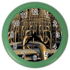 Fractal Image Of Copper Pipes Color Wall Clocks