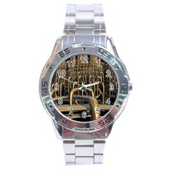 Fractal Image Of Copper Pipes Stainless Steel Analogue Watch