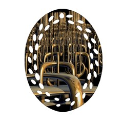 Fractal Image Of Copper Pipes Oval Filigree Ornament (Two Sides)