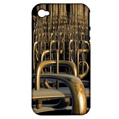 Fractal Image Of Copper Pipes Apple iPhone 4/4S Hardshell Case (PC+Silicone)