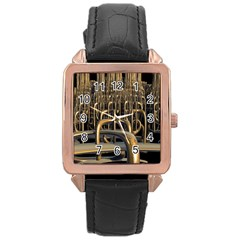 Fractal Image Of Copper Pipes Rose Gold Leather Watch