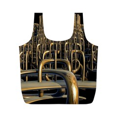 Fractal Image Of Copper Pipes Full Print Recycle Bags (M)