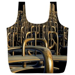 Fractal Image Of Copper Pipes Full Print Recycle Bags (l)