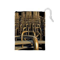 Fractal Image Of Copper Pipes Drawstring Pouches (Medium)