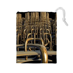 Fractal Image Of Copper Pipes Drawstring Pouches (Large)