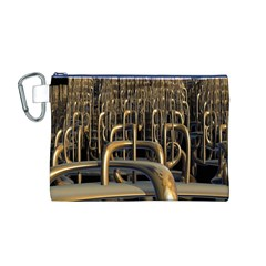 Fractal Image Of Copper Pipes Canvas Cosmetic Bag (M)