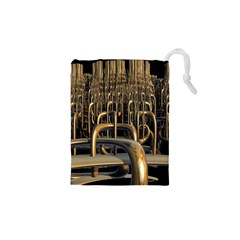 Fractal Image Of Copper Pipes Drawstring Pouches (XS)