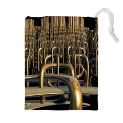 Fractal Image Of Copper Pipes Drawstring Pouches (extra Large)