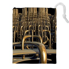 Fractal Image Of Copper Pipes Drawstring Pouches (xxl)