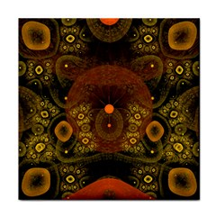 Fractal Yellow Design On Black Tile Coasters