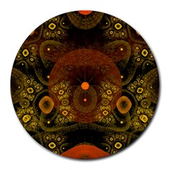 Fractal Yellow Design On Black Round Mousepads