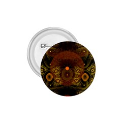 Fractal Yellow Design On Black 1 75  Buttons