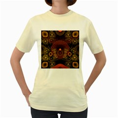 Fractal Yellow Design On Black Women s Yellow T Shirt