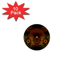 Fractal Yellow Design On Black 1  Mini Buttons (10 Pack)
