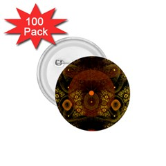 Fractal Yellow Design On Black 1 75  Buttons (100 Pack)