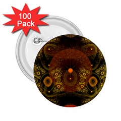Fractal Yellow Design On Black 2.25  Buttons (100 pack)
