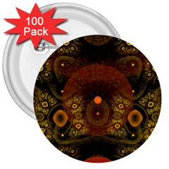 Fractal Yellow Design On Black 3  Buttons (100 pack)