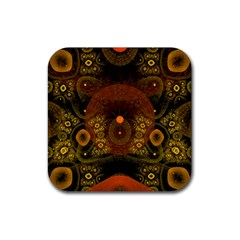 Fractal Yellow Design On Black Rubber Coaster (square)