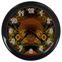 Fractal Yellow Design On Black Wall Clocks (Black)