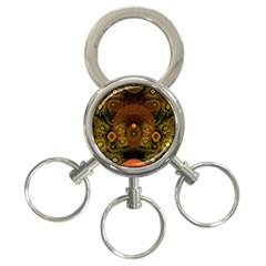 Fractal Yellow Design On Black 3-Ring Key Chains