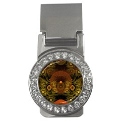 Fractal Yellow Design On Black Money Clips (CZ)