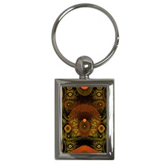 Fractal Yellow Design On Black Key Chains (rectangle)