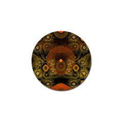 Fractal Yellow Design On Black Golf Ball Marker (4 Pack)