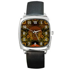 Fractal Yellow Design On Black Square Metal Watch