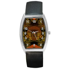 Fractal Yellow Design On Black Barrel Style Metal Watch