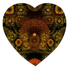 Fractal Yellow Design On Black Jigsaw Puzzle (heart)
