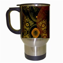 Fractal Yellow Design On Black Travel Mugs (white)