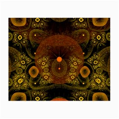 Fractal Yellow Design On Black Small Glasses Cloth