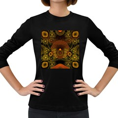 Fractal Yellow Design On Black Women s Long Sleeve Dark T Shirts