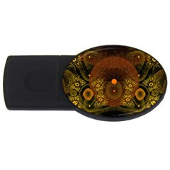 Fractal Yellow Design On Black Usb Flash Drive Oval (4 Gb)