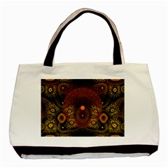 Fractal Yellow Design On Black Basic Tote Bag