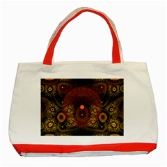 Fractal Yellow Design On Black Classic Tote Bag (red)