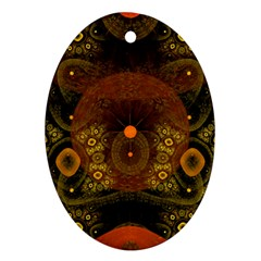 Fractal Yellow Design On Black Oval Ornament (two Sides)