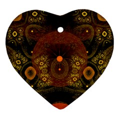 Fractal Yellow Design On Black Heart Ornament (Two Sides)